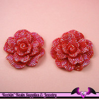 2 pcs Faux RHINESTONE AB RED Rose 45mm Decoden Flatback Resin Flower Cabochons