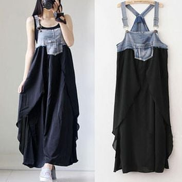 Summer Women's Maternity Clothing Sleeveless Long Dresses Casual Matherhood Clothes for Pregnant Woman Ankle-length Demin Dress