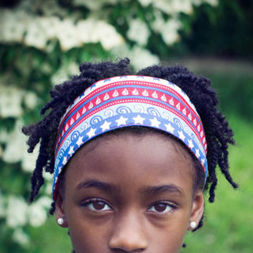 Girls Fabric Headband - 4th of July Red, White, and Blue Fabric Headband for Girls and Women.