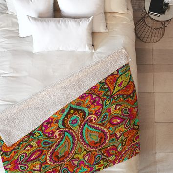 Aimee St Hill Paisley Orange Fleece Throw Blanket