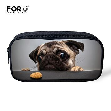 Women Cosmetic Bag Organizer Make Up Bag Boys Pencil Case 3D Animal Pug Dog Children School Supplies Pen Pouch Kids Stationery