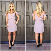 Ruffle Off Shoulder Dress - MAUVE