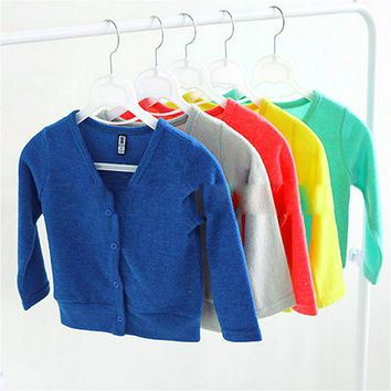 In the spring of 2017 new baby boy girl coat collar cardigan sweater V thick boys and Girls Knitted cardigan sweater boy girl ch
