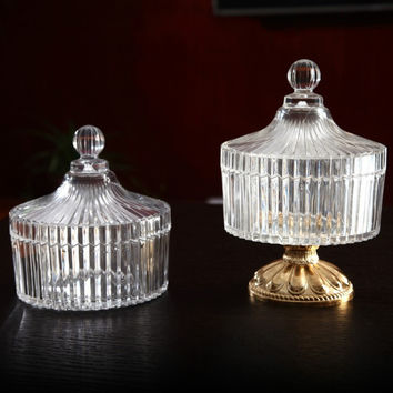 Small Crystal Design Clear Candy Jar With Lid and Optional Pedestal
