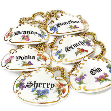 Vintage Porcelain, Liquor Decanter Tags, Oakley China, Fine Bone China, Made in England, Floral Flowers, Barware Alcohol, Set of Six