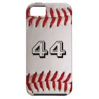 Baseball with customizable number iPhone 5 cases from Zazzle.com