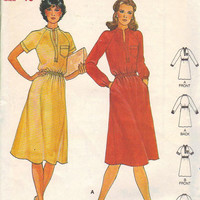 Butterick Sewing Pattern 80s Loose Fit Dress Knee Length Collarless Belted Disco Style Boho Hippie Fashion Bust 32
