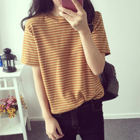Striped Print Loose T-shirt