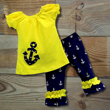 SALE!! Yellow & Navy Anchor Capri Outfit