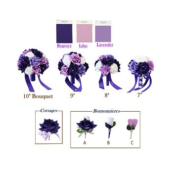 Build your wedding package-Keepsake Artificial flowers Bouquet Corsage Boutonniere Regency Lavender Lilac