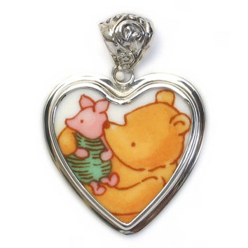 Broken China Jewelry Classic Pooh Bear Piglet Pig Sterling Heart Pendant