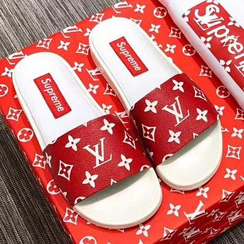Supreme x LV Casual Women Floral Print Sandal Slipper Shoes