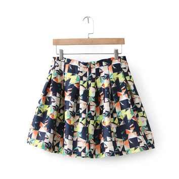 Korean Stylish Geometric Print High Rise Skirt [5013252292]