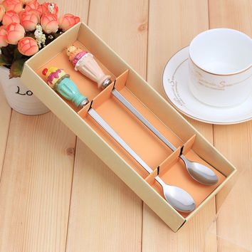 2 pcs Ice Cream Design Teaspoon Cute Style Set for Wedding Childen Gift