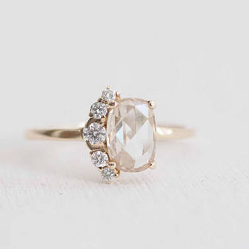 Champagne Oval Rose Cut Diamond + Diamond Cluster Engagement Ring | 14k Recycled Gold | One of a Kind