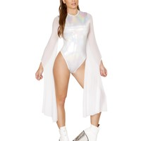 White Holographic Rave Ware Bodysuit With Sheer Mesh Sleeves