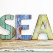 faux wood letter coastal turquoise blue green distressed home decor quote beachy colorful