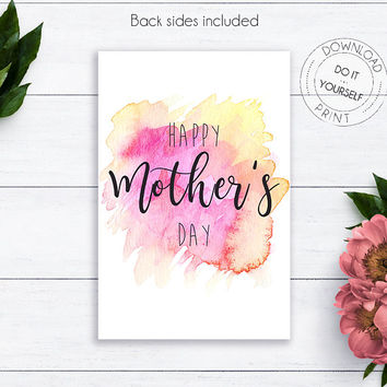 Happy Mother's Day Watercolor Card, Mother's Day Gift, Gift for Her, Card For Mother, Mothers Day Card, Mother Day Printable, Gift For Mom