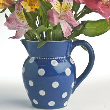 Cobalt blue pitcher with white polka dots vintage pottery Germany