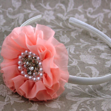 Pearl, Rhinestone and Pearl Headband, Formal Headband, Flower Girl Headband, Girl Headband, Hard Headband, Photo Prop