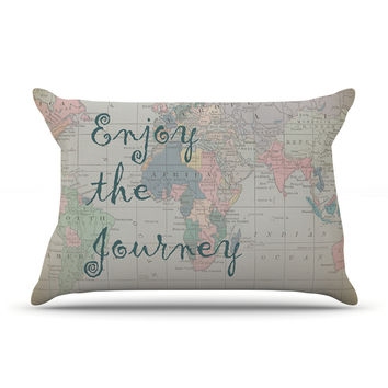 "Catherine Holcombe ""Journey"" World Map Pillow Case"