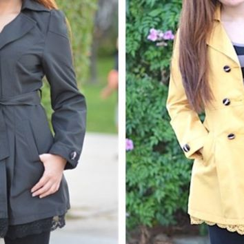 Lace Hemmed Coat (Order Up Two Sizes)