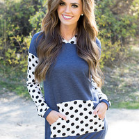 Accents of Polka Dots Hoodie Navy