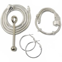 Ultimate Euro Style Compatible Starter Kit Includes - One European Style Charm Compatible Bracelet + One 22 Inch Necklace + One Pendant Holder + One Pair of Hoop Earrings + 2 Stoppers (Select Bracelet Size From Drop Down Window Below)
