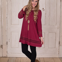 It's Everything And More Tunic Dress - Burgundy