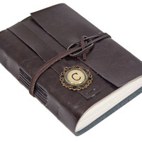 Dark Brown Faux Leather Journal with Custom Initial Cameo Bookmark