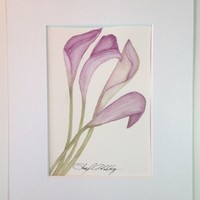 Calla Lilly, Original Watercolor Painting, 5x7 in 8x10 Mat