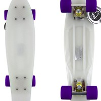 Fish brand Skateboard Glow in the Dark Urban Retro Cruiser Silver/Purple Wheels