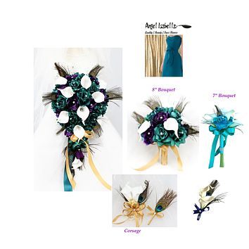 Build your wedding package-Keepsake artificial peacock feather wedding theme. Ribbon color can be selected