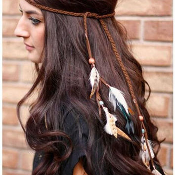 Exotic Boho Vacation Feather Leather Headband Hair Band Hair Jewelry  Long fashion feather hair accessories