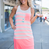 Stripe For The Picking Dress, Hot Pink