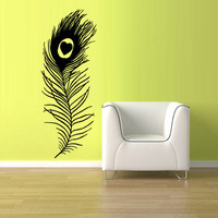 Wall Vinyl Sticker Decals Decor Art Feather Decal Peacock Feather Bird (z1208)
