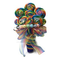 Rainbow Lollipop Wedding Bouquet, Rainbow Bouquet, Lollipop Bouquet, Candy Bouquet, Colorful Bouquet, Wedding, Rehearsal, Bridal Shower
