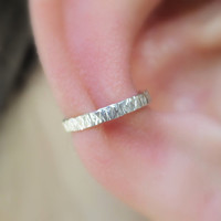 Sterling Silver  Ear Cuff Textured Handcrafted