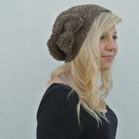 Slouchy Beanie Hat With Bow in Barley Brown