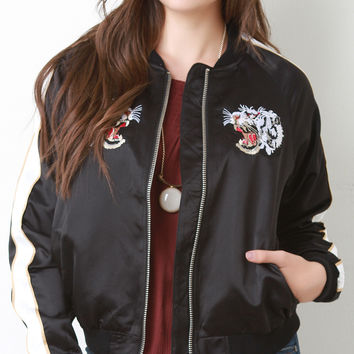 Eye Of The Tiger Embroidered Bomber Jacket