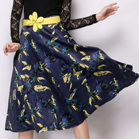 Yellow Floral Printed Midi Skirt