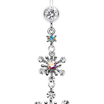 Glistening Snow Flower Belly Button Ring