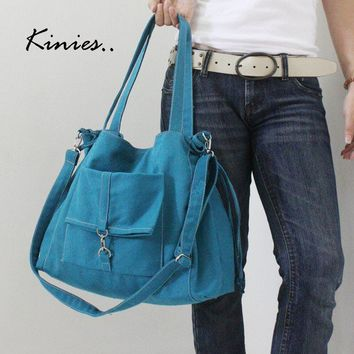 EZ Canvas Bag in TEAL by Kinies on Etsy