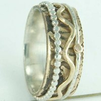 Lovely Mixed Metal Spinner Ring Silver 14k Gold Brass by ExCognito