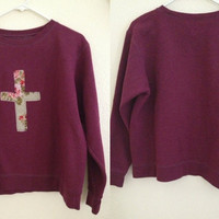Purple Floral Cross Crewneck