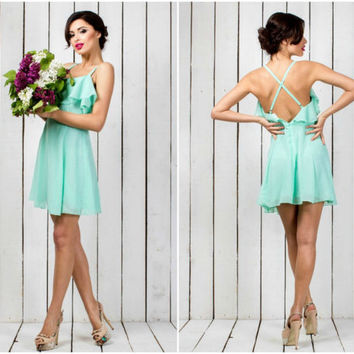 Cheap bridesmaid dress, Mint dress, Chiffon dress, Prom dress, Dresses for bridesmaids, Ball gown, Above the knee dress, Party dress