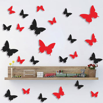 12Pcs Hot Sale Beautiful DIY 3D Butterfly Wall Stickers Art Decal PVC Double-sided Sticker Paper For Office Home Decoration
