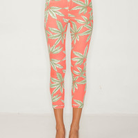 Motel Jodie Skinny Crop Pant in Pink Palm Leaf Print