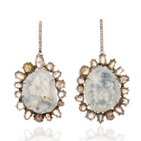 One-Of-A-Kind Light Geode Earrings With Natural Brown Diamonds Set In 18K White Gold | Moda Operandi