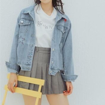 Women Simple Fashion Five-pointed Star Embroidery Print Long Sleeve Loose Denim Cardigan Small Coat